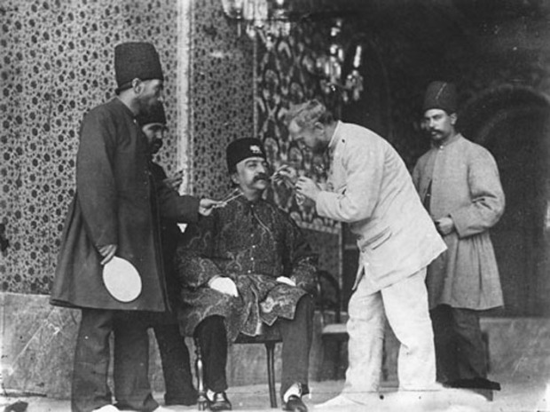 Barber Dyeing Nasir al-din Shah's Mustache. Iran, ca 1890