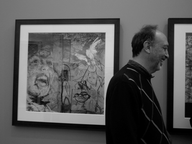 Roger Ballen next to his new works at Hamiltons Gallery