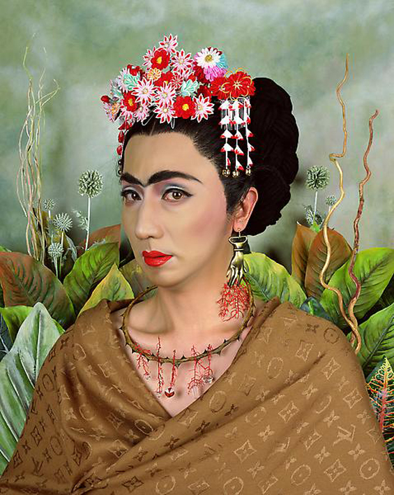 An Inner Dialogue with Frida Kahlo (with Hand Shaped Earring), 2001, by Yasumasa Morimura