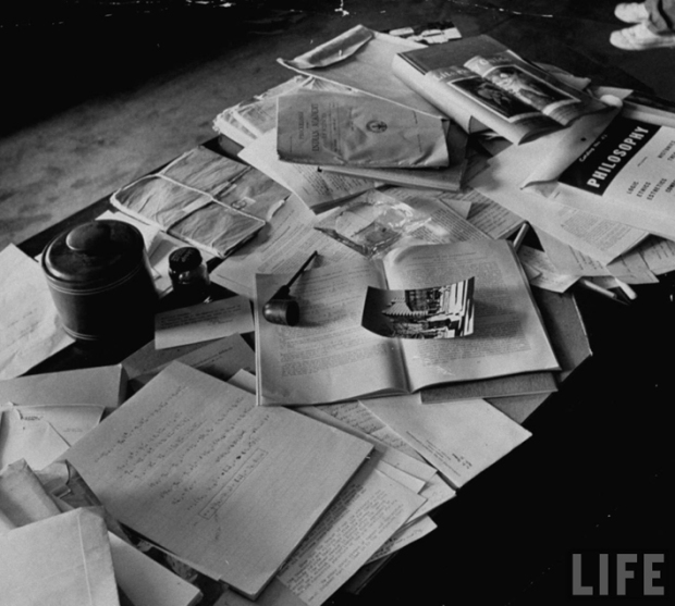 Einstein's desk photographed a day after his death 1955